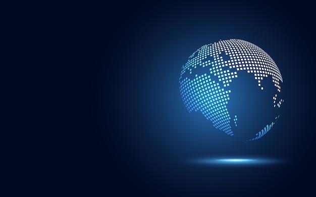 Fundo de tecnologia abstrata de transformação digital globo