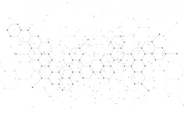 Fundo de tecnologia abstrata estrutura molecular. projeto médico
