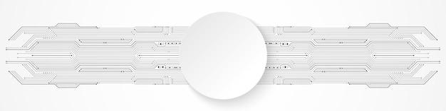 Fundo de tecnologia abstrato, banner de círculo branco no padrão de placa de circuito cinza