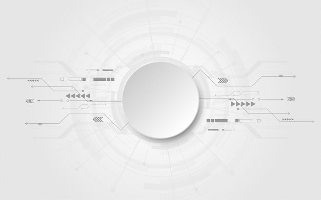 Fundo de tecnologia abstrato branco cinza com vários elementos de tecnologia