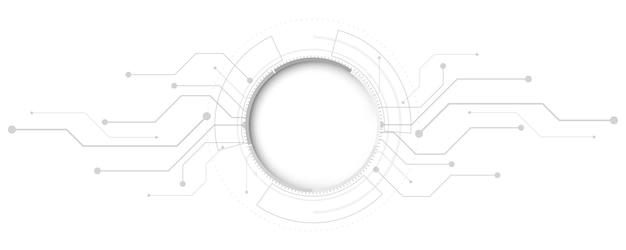Fundo de tecnologia abstrato cinza branco com vários elementos de tecnologia fundo de inovação de conceito de comunicação de alta tecnologia espaço vazio de círculo para seu texto