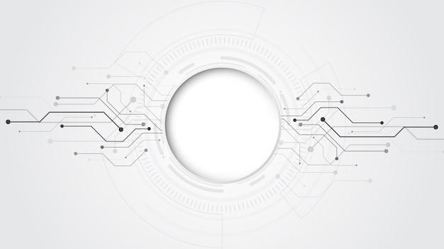 Fundo de tecnologia abstrato cinza branco com vários elementos de tecnologia fundo de inovação de conceito de comunicação de alta tecnologia