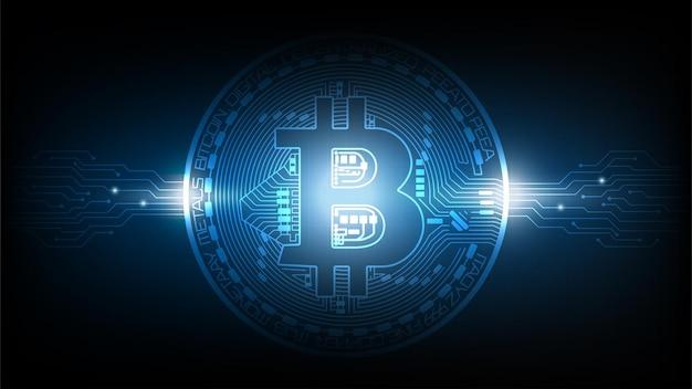 Fundo de tecnologia abstrato futurista azul com conceito de bitcoin e blockchain.