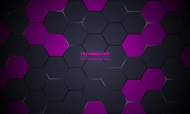 Fundo de tecnologia abstrato hexagonal cinza escuro e roxo