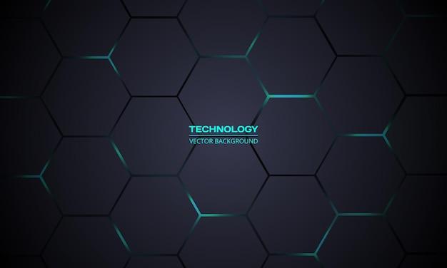 Fundo de tecnologia abstrato hexagonal cinza escuro e turquesa
