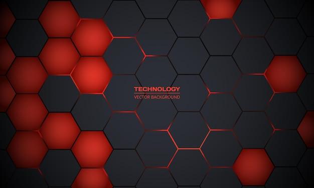 Fundo de tecnologia abstrato hexagonal cinza escuro e vermelho