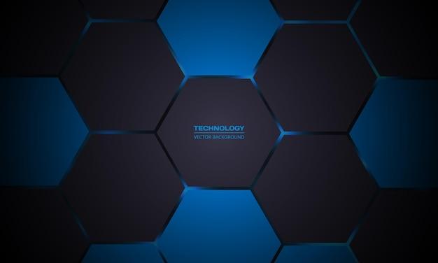 Fundo de tecnologia abstrato hexagonal cinza escuro