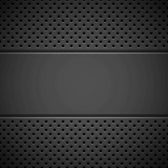 Fundo de tecnologia abstrato preto com textura de grade de alto-falante de padrão perfurado de círculo sem costura