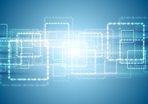 Fundo de tecnologia azul brilhante com quadrados brilhantes. desenho vetorial