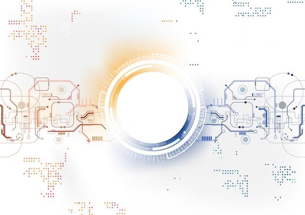 Fundo de tecnologia azul círculo laranja