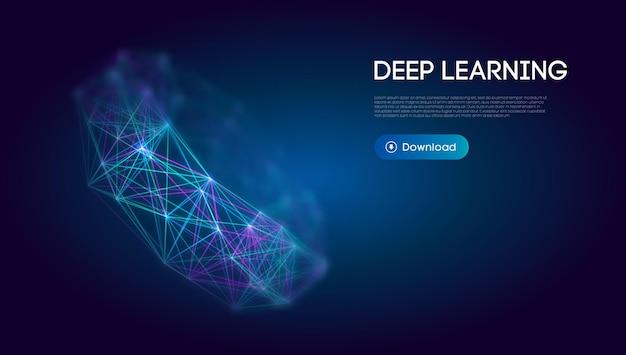 Fundo de tecnologia científica de aprendizagem profunda. comunicação em rede ai aprendizado profundo. ilustração vetorial.