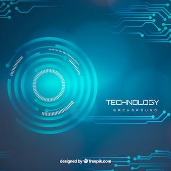Fundo de tecnologia com círculos e circuitos