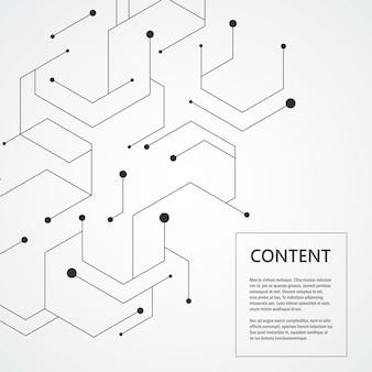 Fundo de tecnologia com composição de conexão molecular
