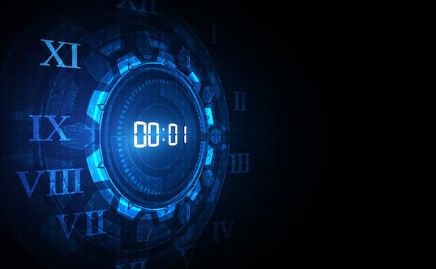 Fundo de tecnologia com conceito de temporizador digital número e contagem regressiva