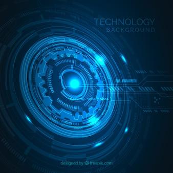 Fundo de tecnologia com cor azul