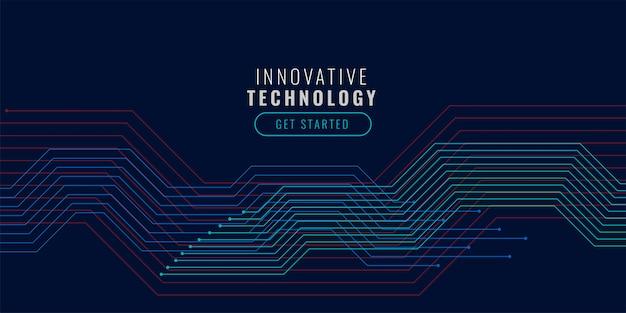 Fundo de tecnologia com diagrama de linhas de circuito