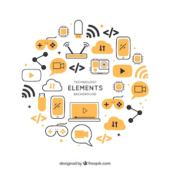 Fundo de tecnologia com dispositivos em estilo plano