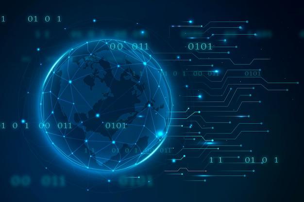 Fundo de tecnologia com globo terrestre e código binário