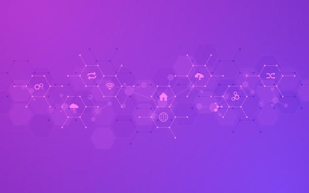 Fundo de tecnologia com ícones e símbolos planos. conceito e ideia para internet das coisas, comunicação, rede, tecnologia de inovação, integração de sistemas. ilustração vetorial.