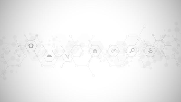 Fundo de tecnologia com ícones e símbolos planos