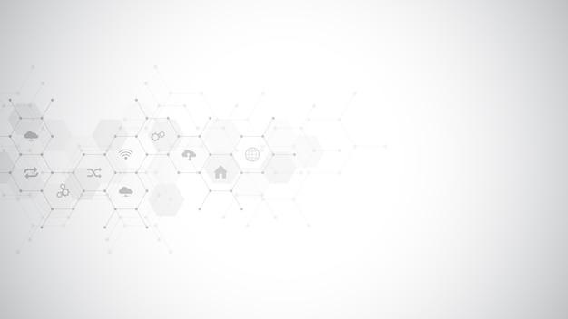 Fundo de tecnologia com ícones e símbolos.