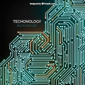 Fundo de tecnologia com linhas ans pontos