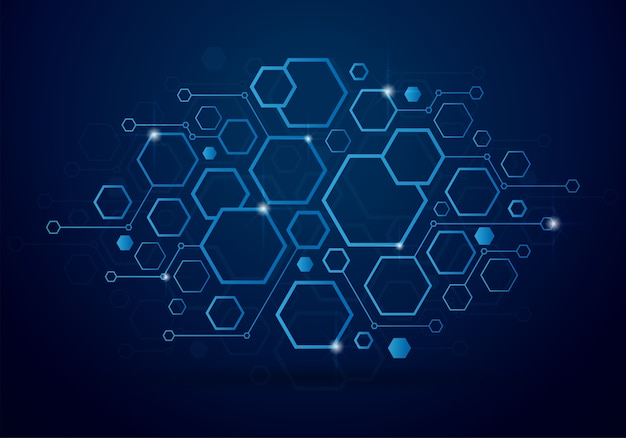 Fundo de tecnologia com o conceito de hexágono geométrico