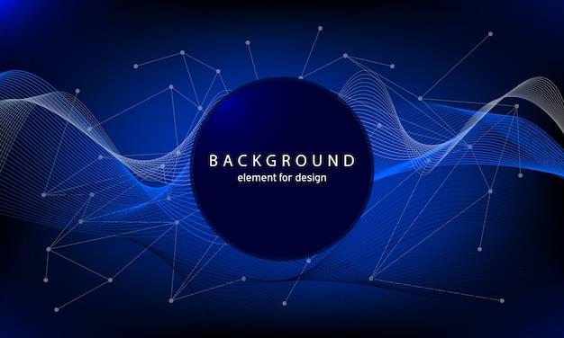 Fundo de tecnologia com ondas abstratas e pontos e linhas de conexão. Vetor Premium