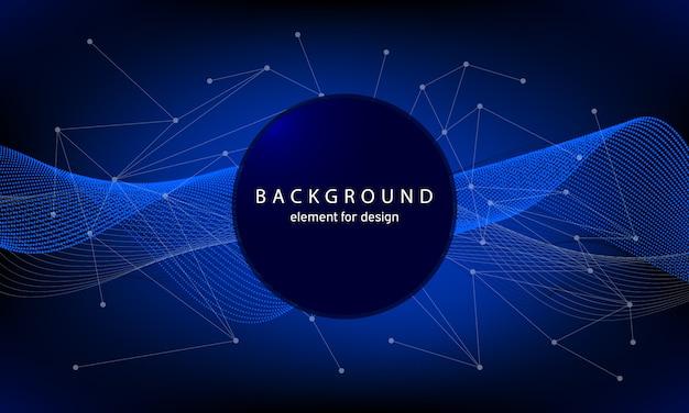 Fundo de tecnologia com ondas abstratas e pontos e linhas de conexão.