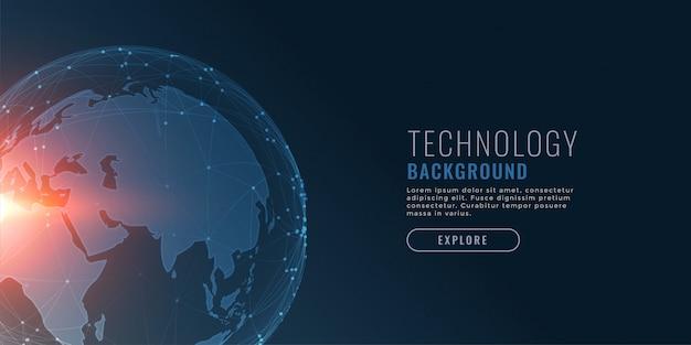 Fundo de tecnologia com terra e conectando pontos