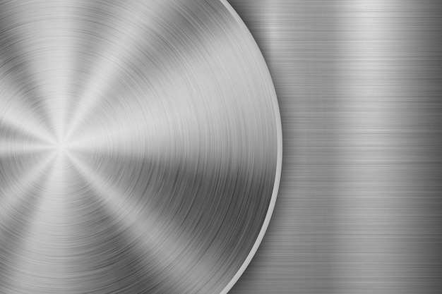 Fundo de tecnologia com textura escovada circular metal
