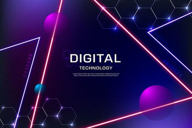 Fundo de tecnologia com triângulos de néon