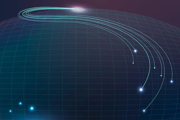 Fundo de tecnologia com wireframe abstrato em tom azul