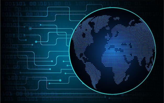 Fundo de tecnologia de circuito cyber mundo azul