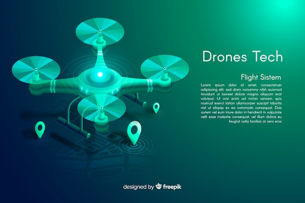 Fundo de tecnologia de drones isométrica