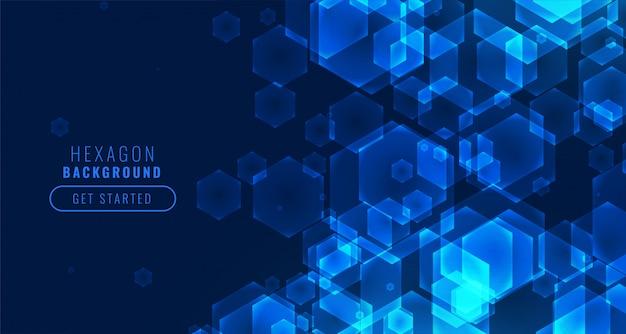 Fundo de tecnologia de forma hexagonal digital futurista