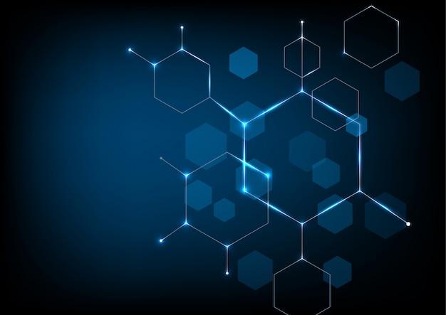 Fundo de tecnologia de forma hexagonal