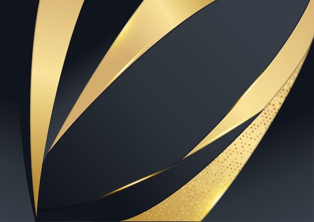 Fundo de tecnologia de luxo de vetor. pilha de camada de material de papel preto com faixa dourada. papel de parede premium em forma de seta