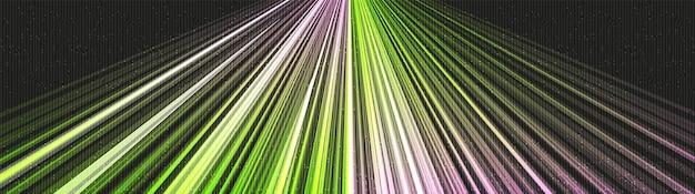 Fundo de tecnologia de luz verde de velocidade de panorama, alta tecnologia digital e onda sonora conceito de design, espaço livre para texto colocado, ilustração vetorial.