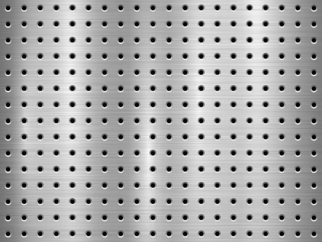Fundo de tecnologia de metal com padrão de círculo sem costura perfurada