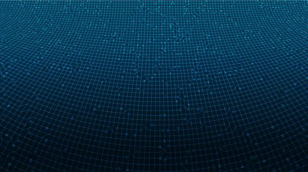 Fundo de tecnologia de microchip de circuito de linha digital