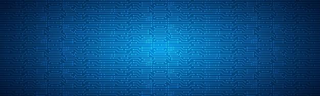 Fundo de tecnologia de microchip, padrão de placa de circuito digital azul
