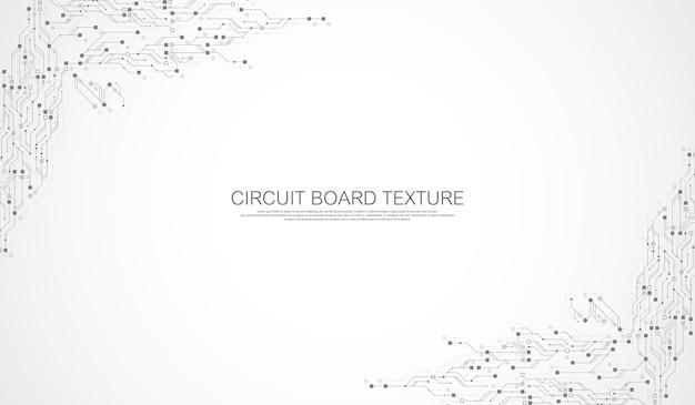 Fundo de tecnologia de placa de circuito com elementos de computador abstratos de sistema de conexão de dados digital ...