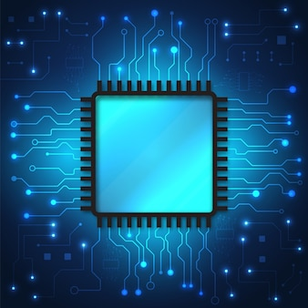 Fundo de tecnologia de placa de circuito com sistema de conexão de dados digitais de alta tecnologia e computador eletrônico