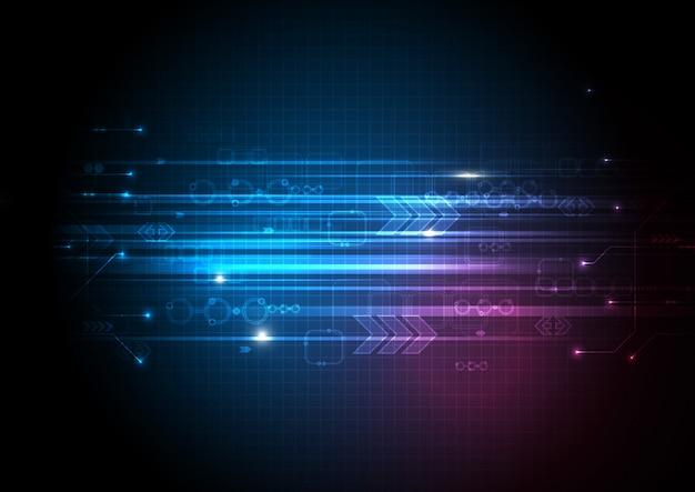 Fundo de tecnologia de velocidade de luz rosa azul