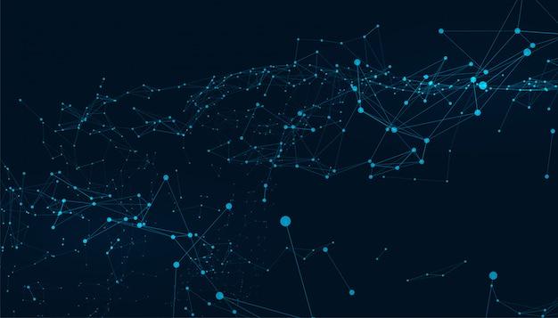Fundo de tecnologia digital abstrata baixa poli linhas de conexão