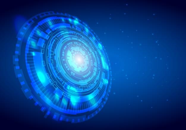 Fundo de tecnologia digital abstrata círculo com espaço de volta