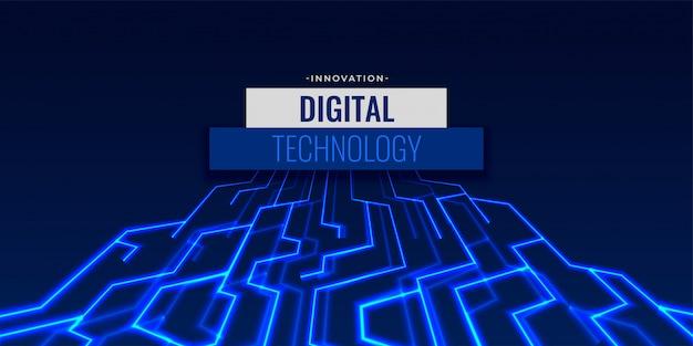 Fundo de tecnologia digital com linhas de circuito brilhantes