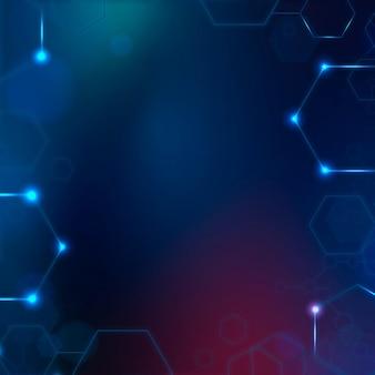 Fundo de tecnologia digital com moldura hexagonal em tons de azul