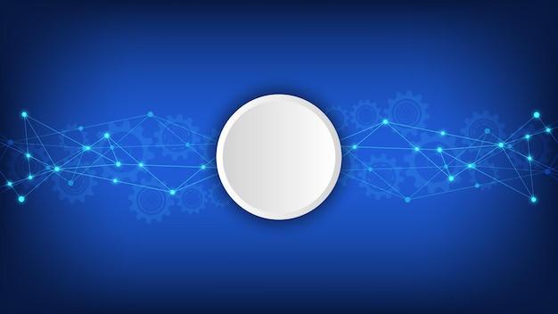 Fundo de tecnologia digital com pontos e linhas de conexão. abstrato base técnico de conexão e comunicação de rede.